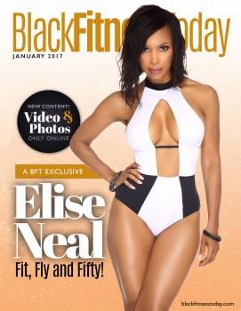 ELISE NEAL *swimsuit, cleavage, photoshoot* Black Fitness Today magazine (JAN 2017)