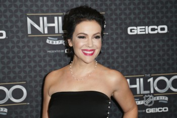 Alyssa Milano at The NHL 100 presented by GEICO at the Microsoft Theater 1/27/17